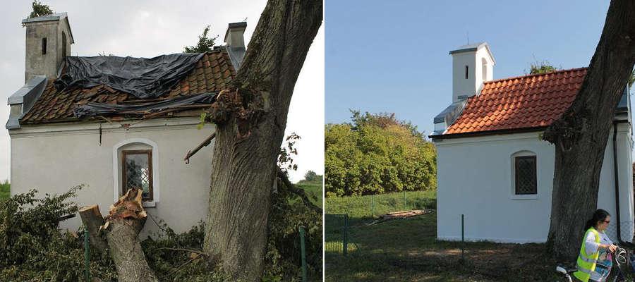 Kapliczka w Łędławkach została wyremontowana po tym, jak 25 lipca 2014 r. wicher przewrócił drzewo na jej dach.