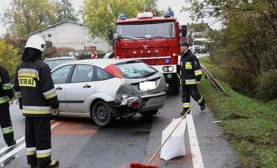 Zderzenie osobówek na drodze Elbląg-Malbork