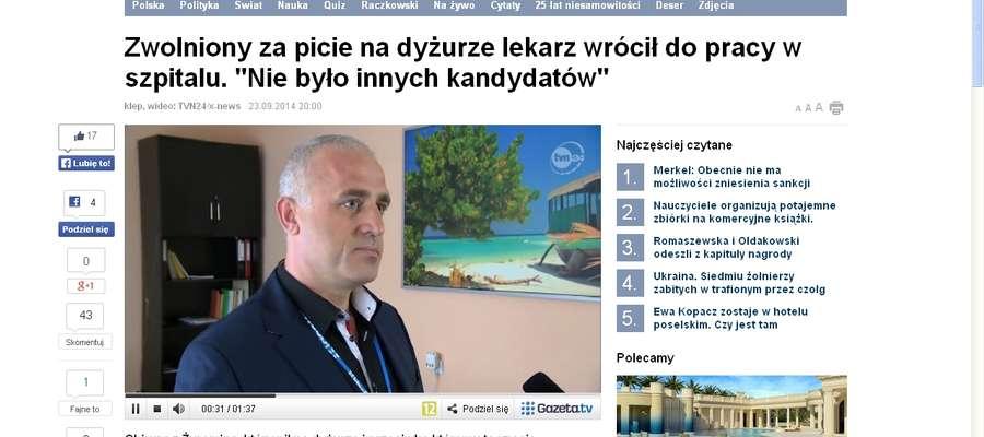 1. Artykuł na portalu Gazeta.pl