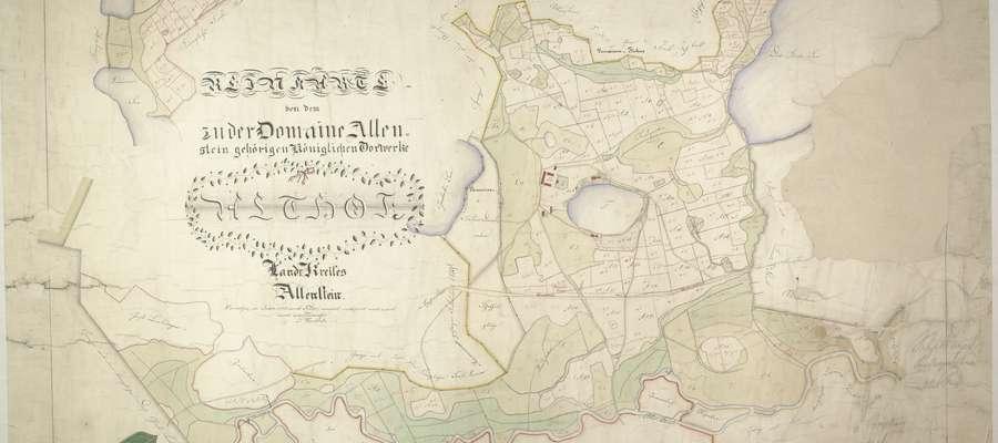 Archiwalna mapa pruska z zaznaczonym jeziorem Starodworskim i stojące nad nim zabudowania. Dokument udostępnił nam prof. Jan Gancewski