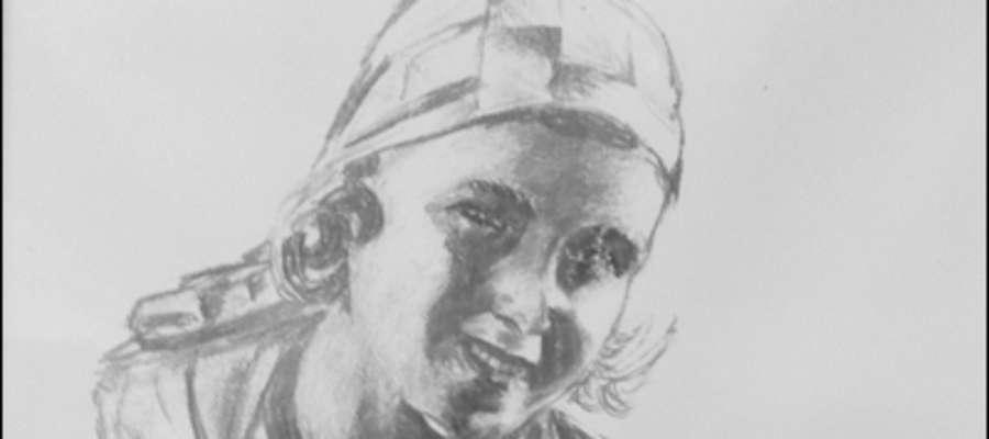 Rysunek Niemena — przestawia narzeczoną Marię. Autograf cyrylicą