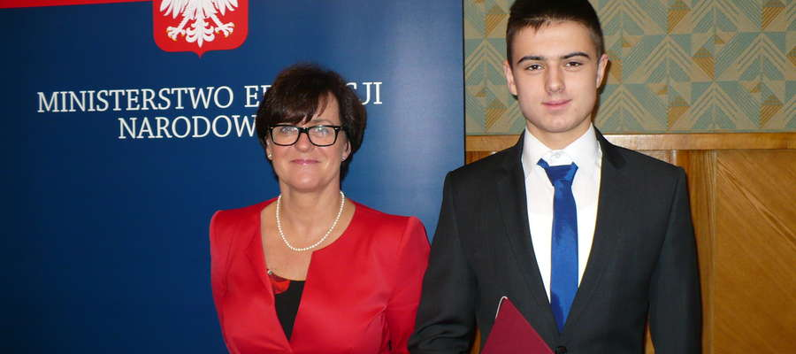 Mateusz Kozłowski z panią minister Kluzik - Rostkowską.