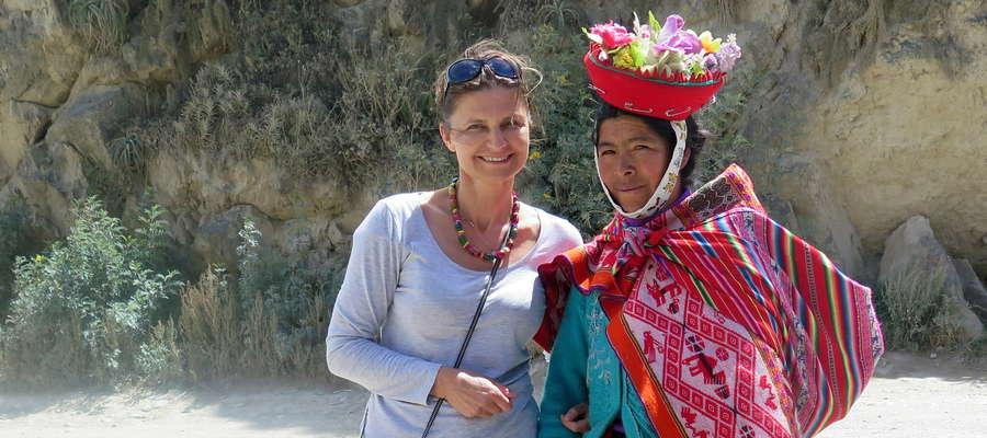Małgorzata Olejnik w Ollantaytambo, Świętej Dolinie Inków, Peru, kwiecień 2014 r.