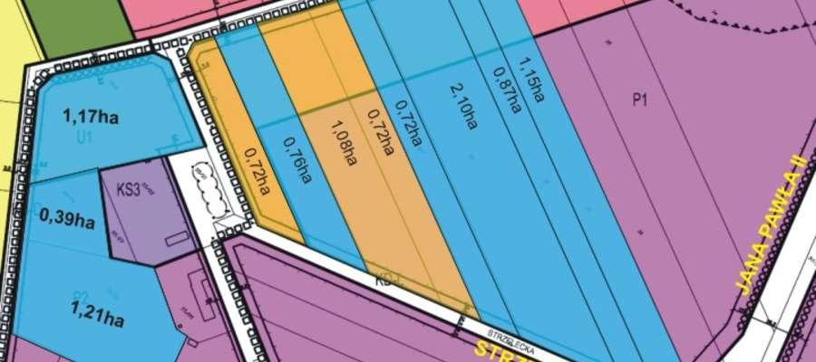 Tereny zaznaczone kolorem niebieskim na których będzie można inwestować na specjalnych warunkach.