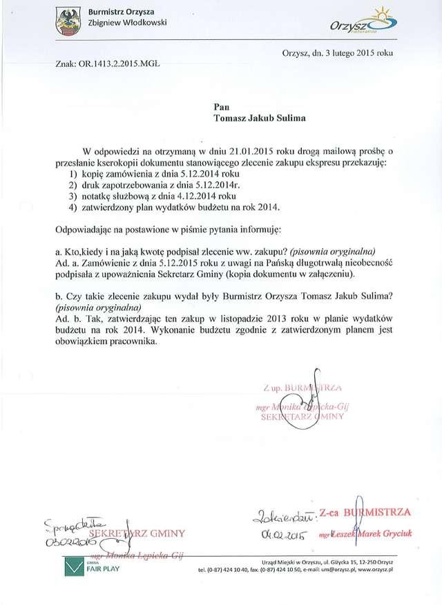 Pismo skierowane do byłego burmistrza wyjaśnia całą sprawę