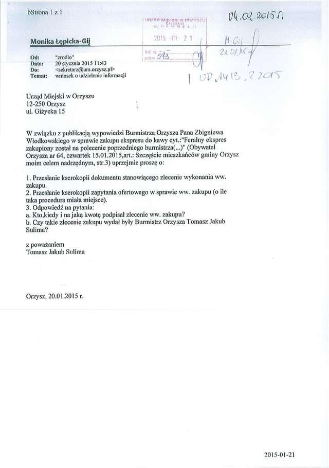 Zapytanie wpłynęło do Urzędu Miasta pod koniec stycznia
