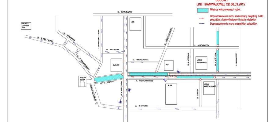 Tak wyglądają zmiany w centrum Olsztyna jakie czekają kierowców od 8 marca.