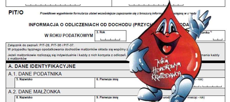 Oddawani krwi lub osocza jest podstawą do uzyskania ulgi podatkowej
