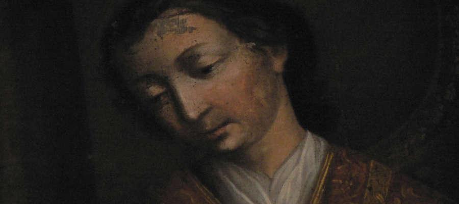 Święty Walenty z obrazu Jana Langhanki z 1776 roku, który znajduje się w kościele w Bisztynku.
