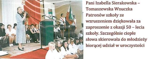 Żona Bohdana Tomaszewskiego, Izabela -  wnuczka Heleny i Stanisława Sierakowskich