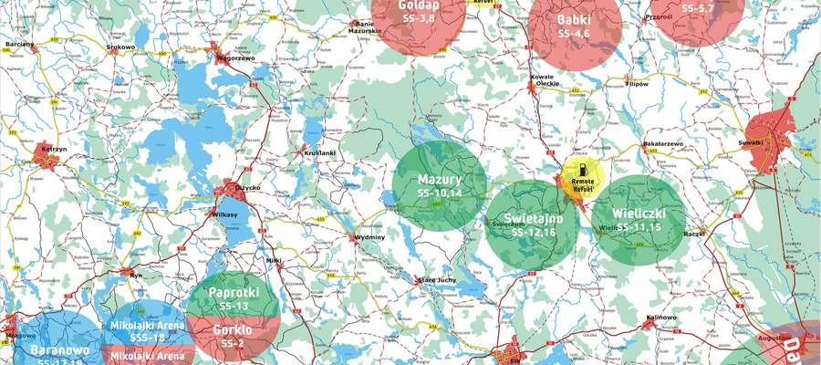 Rajd Polski rozpisany na oesy. Więcej odcinków na Mazurach