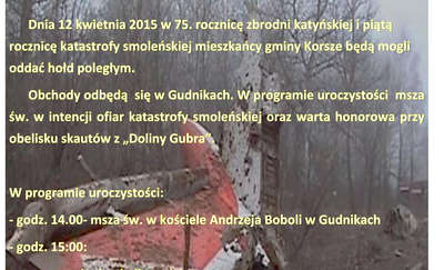 Gudniki. Obchody zbrodni katyńskiej i katastrofy smoleńskiej
