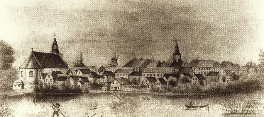 Widok na Bisztynek przed 1868 rokiem kiedy osuszono staw młyński widoczny jeszcze na tej rycinie.