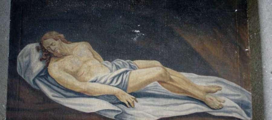 Malowidło przechowywane w zachrystii kościoła w Grzędzie było jednym z elementów Grobu Pańskiego za obrazem w ołtarzu głównym.