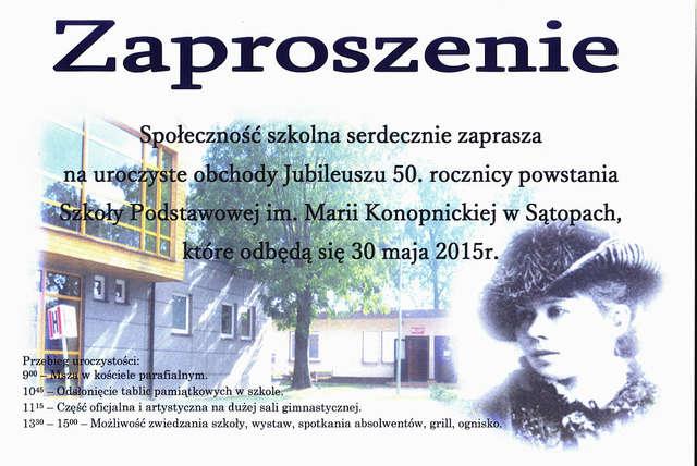 50 Lat Szkoły W Sątopach Zaproszenie Bisztynek