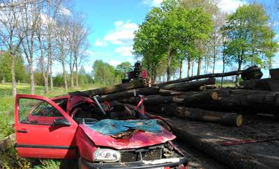 Wypadek na trasie Cimochy - Sobole