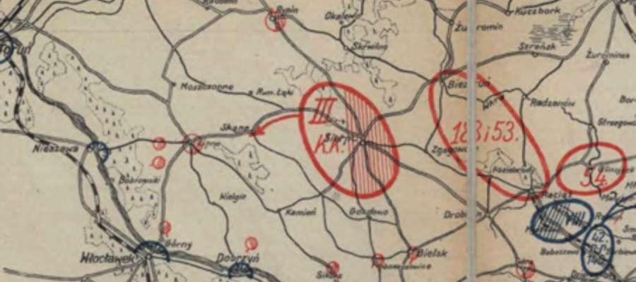 Sytuacja militarna nad Wisłą z dnia 14 VIII 1920r. około godziny 12,00