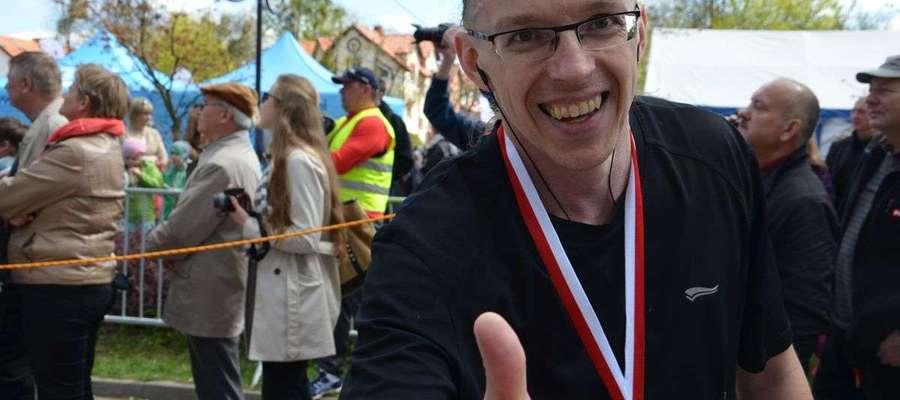 Grzegorz Kwakszys tuż po ukończeniu półmaratonu.