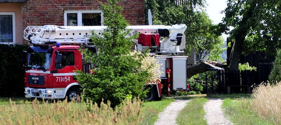 Jeszcze w poniedziałek strażacy pomagali usunąć drzewo, które przewróciło się na dom