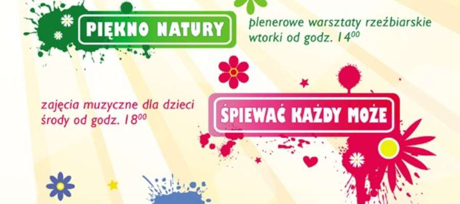 Plakat informujący o wakacyjnych atrakcjach w Mszanowie