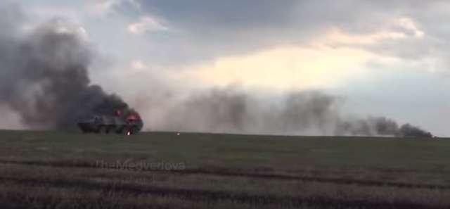 Płonący rosyjski BTR. - full image