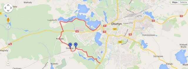 Olsztyński szlak rowerowy: Kortowo-al. Warszawska-Nowy Dwór-Gronity-Kudypy-Łupstych-plaża miejska - full image