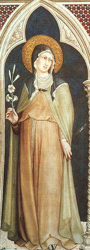 Św. Klara z Asyżu, fresk z 1317 w bazylice św. Franciszka w Asyżu.