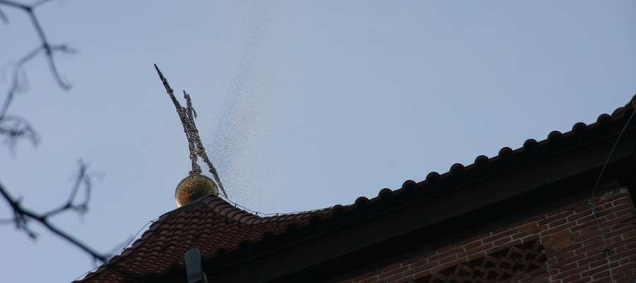 Tak wyglądał rój owadów nad cerkwią greckokatolicką w Górowie Iławeckim.