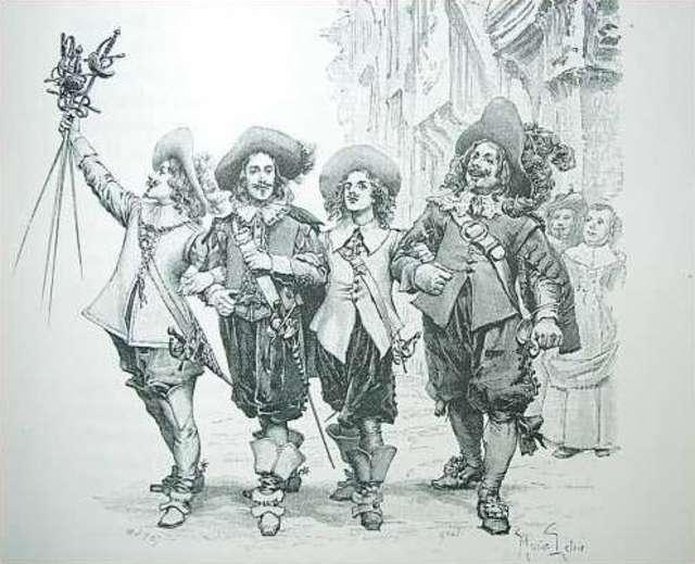 Trzej muszkieterowie na drzeworycie autorstwa Maurice Leloira (1851-1940) - full image