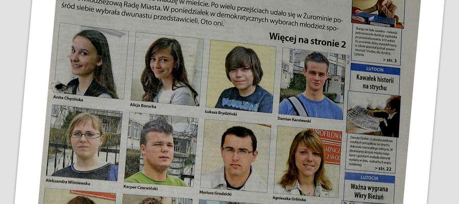 Młodzieżowa Rada Miasta 2008. O młodych ludziach informowała pierwsza strona Kuriera
