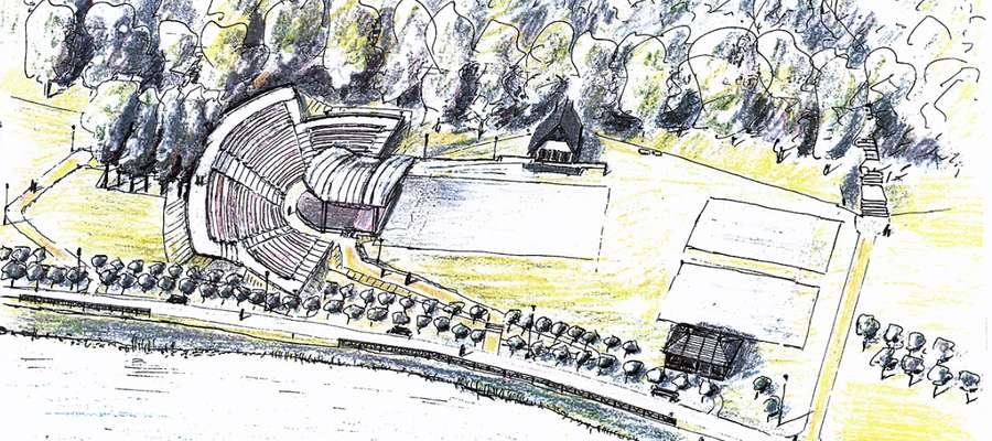 Wizualizacja centrum parku już z amfiteatrem nad nowomiejskim zalewem