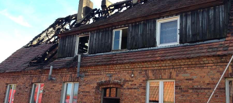 Spalony budynek w Lipinkach