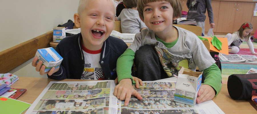 Od lewej: Jakub Nakonieczny i Iwo Kucza, pierwszaki ze Szkoły Podstawowej nr 3. Z łatwością odnaleźli się na zdjęciach