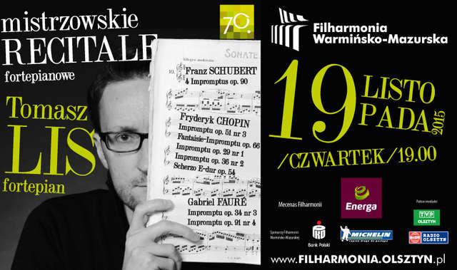 Mistrzowski recital fortepianowy - Tomasz Lis w Filharmonii W-M - full image