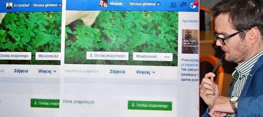 """Filip Przedpełski pokazał na ekranie trzy obrazki, gdzie na niebieskiej belce widniały imiona: ,,Krzysztof"""", ,,Wojtek"""" i postać z kreskówki - ,,Kaczor"""". Obok nich są miniaturki zdjęć wymienionych"""