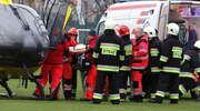 Kobieta poszkodowana w wypadku została przewieziona helikopterem do Olsztyna