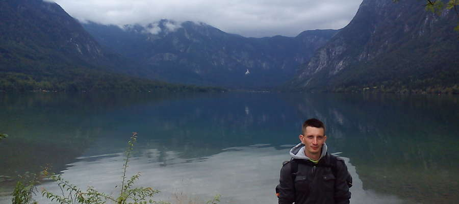 Pan Janusz w Alpach Julijskich w Słowenii, okolice jeziora Bohinj