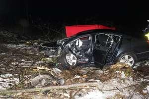 Wypadł z zakrętu i uderzył w drzewo. Nie żyje kierowca volkswagena [FILM]