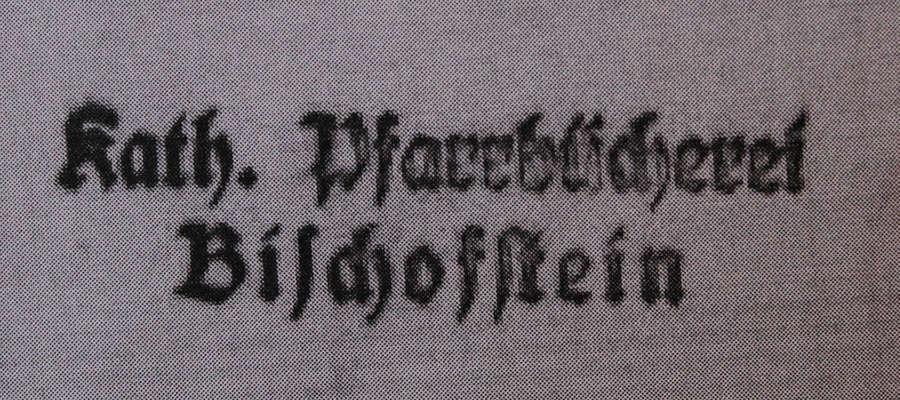 Pieczęć Katolickiej, Parafialnej Biblioteki w Bisztynku w zatrzymanej przez celników książce.