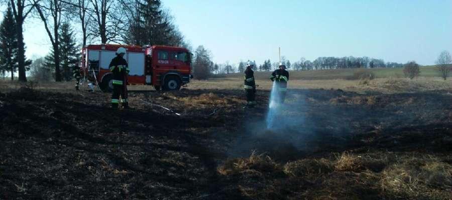 W drugi dzień Świąt Wielkanocnych strażacy OSP Reszel wyjeżdżali dwa razy do palącej się trawy...