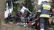 Śmiertelny wypadek pod Olsztynem. Ciężarówka zderzyła się czołowo z osobowym mitsubishi