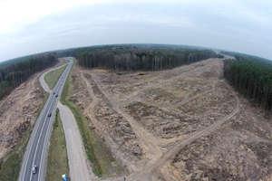 Obwodnica Olsztyna w budowie: Węzeł Zachód w okolicy Kudyp z lotu dronem