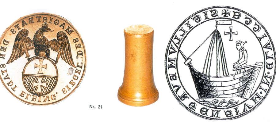 Najstarsza elbląska pieczęć (z prawej). Obok jeden ze stempli magistratu elbląskiego z kolekcji urodzonego w Elblągu Hansa Pfau'a, mieszkającego obecnie w Bad Berneck w Górnej Frankonii