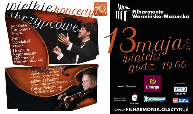 Kolejna odsłona koncertów skrzypcowych w Olsztynie: Natan Dondalski i dyrygent Juan Carlos Lomonaco - full image