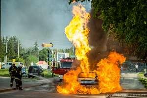 Pożar samochodu w Mikołajkach