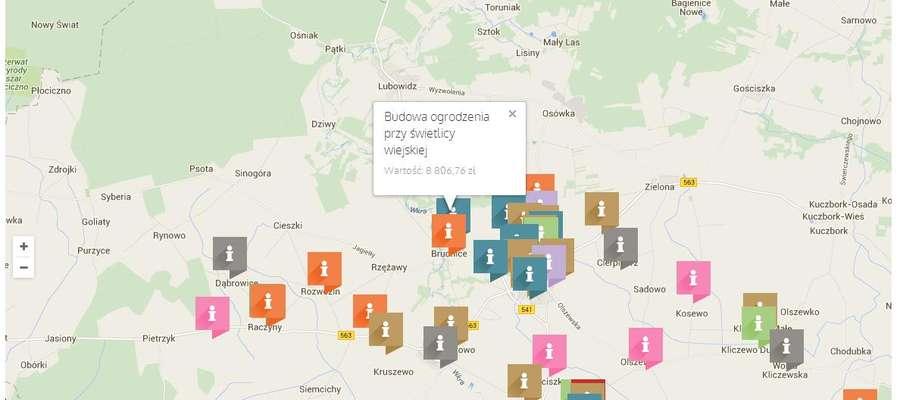 Na mapie zostały zaznaczone miejscowości gdzie wykonane zostały inwestycje i jaki był ich koszt