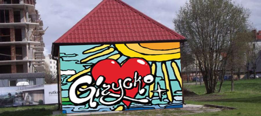 Wizualizacja muralu na transformatorze przy ul. Kolejowej