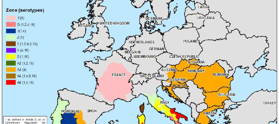 Strefy zamknięte dla choroby niebieskiego języka na dzień 4 lutego 2016