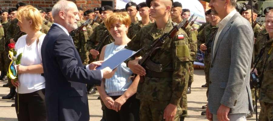 Minister Antoni Macierewicz podczas wizyty w Braniewie