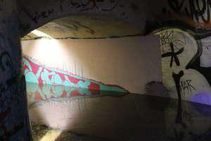 Zamiast muralu zalany tunel w Olsztynie. Konieczna była interwencja straży